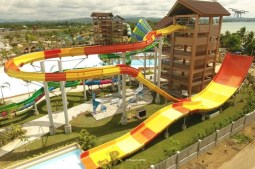 Huge water slides and pools